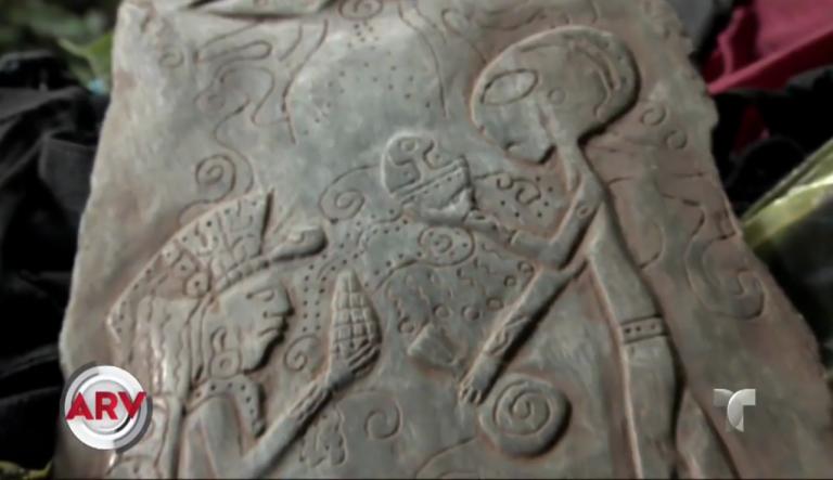 Jade stones describing alien contact found in a cave in Mexico 2