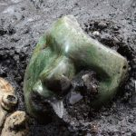mask 150x150 - Image: © INAH  - A 2000-year-old green Serpentine mask, discovered at the base of a pyramid in Mexico